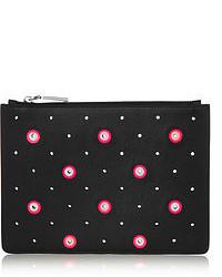 schwarze und weiße gepunktete Leder Clutch von Jil Sander