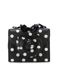 schwarze und weiße gepunktete Leder Umhängetasche von Oscar de la Renta