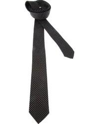 schwarze und weiße gepunktete Seidekrawatte von Dolce & Gabbana