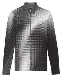 schwarze und weiße Harrington-Jacke mit Karomuster von Prada