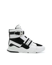 schwarze und weiße hohe Sneakers aus Leder von Balmain