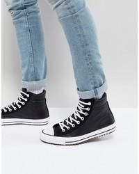 schwarze und weiße hohe Sneakers aus Leder von Converse