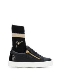 schwarze und weiße hohe Sneakers aus Leder von Giuseppe Zanotti Design