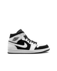 schwarze und weiße hohe Sneakers aus Leder von Jordan