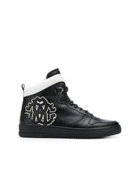 schwarze und weiße hohe Sneakers aus Leder von Roberto Cavalli