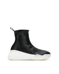 schwarze und weiße hohe Sneakers aus Leder von Stella McCartney