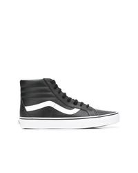 schwarze und weiße hohe Sneakers aus Leder von Vans