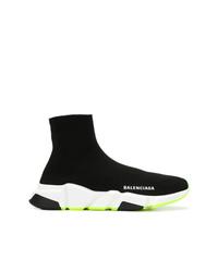 schwarze und weiße hohe Sneakers aus Segeltuch von Balenciaga