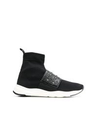 schwarze und weiße hohe Sneakers aus Segeltuch von Balmain