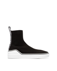 schwarze und weiße hohe Sneakers aus Segeltuch von Givenchy