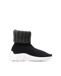 schwarze und weiße hohe Sneakers aus Segeltuch von Miu Miu
