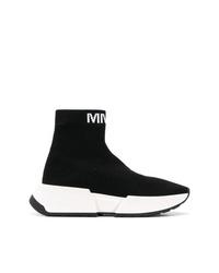 schwarze und weiße hohe Sneakers aus Segeltuch von MM6 MAISON MARGIELA