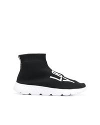 schwarze und weiße hohe Sneakers aus Segeltuch von RED Valentino