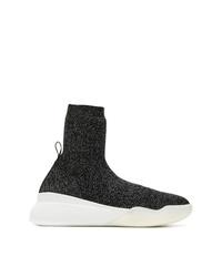 schwarze und weiße hohe Sneakers aus Segeltuch von Stella McCartney