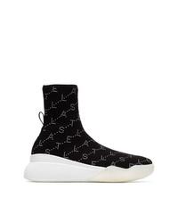 schwarze und weiße hohe Sneakers von Stella McCartney