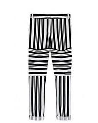 schwarze und weiße horizontal gestreifte enge Hose