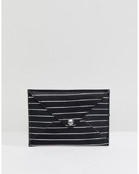 schwarze und weiße horizontal gestreifte Leder Clutch von Pull&Bear