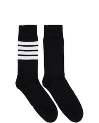 schwarze und weiße horizontal gestreifte Socken von Thom Browne