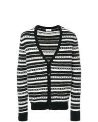 schwarze und weiße horizontal gestreifte Strickjacke