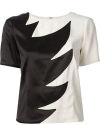 schwarze und weiße Kurzarmbluse von Marc by Marc Jacobs
