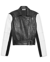schwarze und weiße Leder Bikerjacke