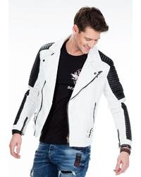 schwarze und weiße Leder Bikerjacke von Cipo & Baxx