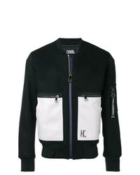 schwarze und weiße Leder Bomberjacke von Karl Lagerfeld