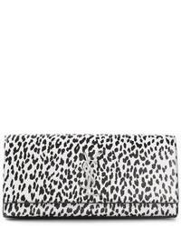 schwarze und weiße Leder Clutch mit Leopardenmuster von Saint Laurent