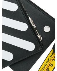 schwarze und weiße Leder Clutch von Off-White