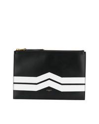schwarze und weiße Leder Clutch von Givenchy