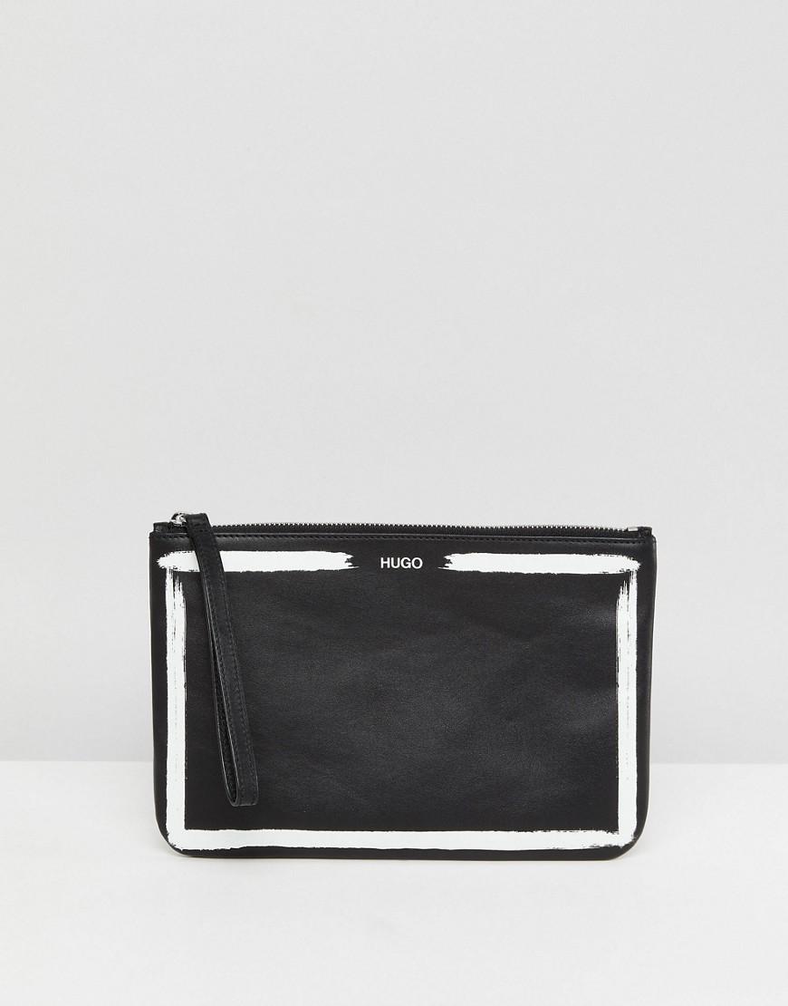 schwarze und weiße Leder Clutch von Hugo