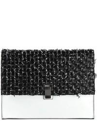schwarze und weiße Leder Clutch von Proenza Schouler