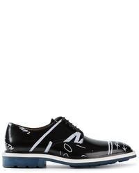 schwarze und weiße Leder Derby Schuhe von Kenzo