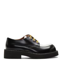 schwarze und weiße Leder Derby Schuhe von Marni