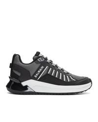 schwarze und weiße Leder niedrige Sneakers von Balmain