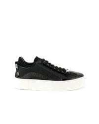 schwarze und weiße Leder niedrige Sneakers von Dsquared2