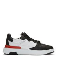 schwarze und weiße Leder niedrige Sneakers von Givenchy