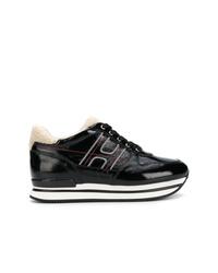 schwarze und weiße Leder niedrige Sneakers von Hogan