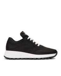 schwarze und weiße Leder niedrige Sneakers von Prada