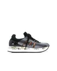 schwarze und weiße Leder niedrige Sneakers von Premiata