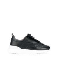 schwarze und weiße Leder niedrige Sneakers von Tod's