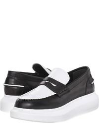 schwarze und weiße Leder plateau Slippers