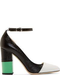 Schwarze und weiße Leder Pumps von Thom Browne