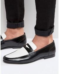 schwarze und weiße Leder Slipper von Asos