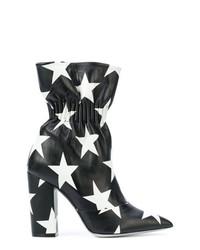 schwarze und weiße Leder Stiefeletten von MSGM