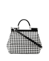 schwarze und weiße Leder Umhängetasche mit Hahnentritt-Muster von Dolce & Gabbana