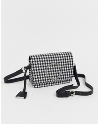 schwarze und weiße Leder Umhängetasche mit Hahnentritt-Muster von Glamorous