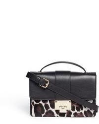 schwarze und weiße Leder Umhängetasche mit Leopardenmuster