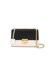 schwarze und weiße Leder Umhängetasche von Gucci