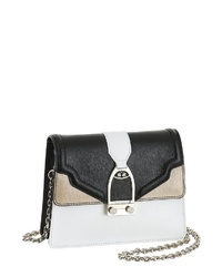 schwarze und weiße Leder Umhängetasche von La Martina